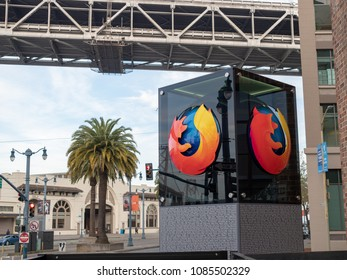 SAN FRANCISCO, CA – APRIL 24, 2018: Mozilla Firefox logo outside of San Francisco location with palm tree in background