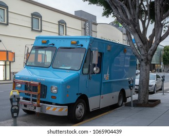 SAN FRANCISCO, CA - APRIL 4, 2018: Pacific Gas & Electric (PG&E) repair truck parked on street