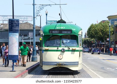 San Francisco, CA - August 11, 2018: Market and Wharves Historic Streetcar at Fisherman's Wharf. MUNI is one of America's oldest public transit agencies.