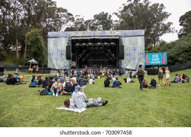 SAN FRANCISCO, CA - AUGUST 11, 2017: Fans  arriving at the Sutro stage at the Outside Lands Music and Arts Festival at Golden Gate Park on August 11, 2017 in San Francisco, California.