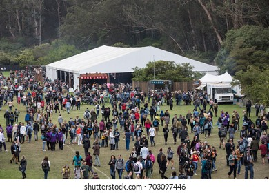 SAN FRANCISCO, CA - AUGUST 12, 2017: Fans at the wine lands tent at the Outside Lands Music and Arts Festival at Golden Gate Park on August 12, 2017 in San Francisco, California.