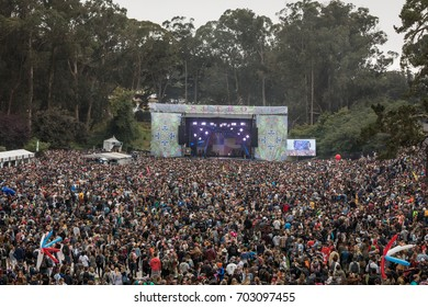 SAN FRANCISCO, CA - AUGUST 12, 2017: Fans  watching the Vance Joy at the Sutro stage at the Outside Lands Music and Arts Festival at Golden Gate Park on August 12, 2017 in San Francisco, California.