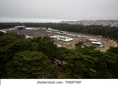 SAN FRANCISCO, CA - AUGUST 13, 2017: Fans  watching the band Young and the Giant in the Polo Field on the Lands End stage at the Outside Lands Music and Arts Festival at Golden Gate Park.