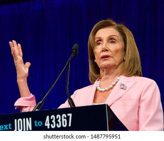 San Francisco, CA - August 23, 2019: Speaker of the House, Nancy Pelosi, speaking at the Democratic National Convention Summer Meeting in San Francisco, California.