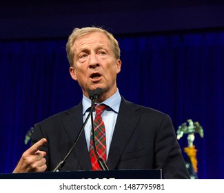 San Francisco, CA - August 23, 2019: Presidential candidate Tom Steyer speaking at the Democratic National Convention summer session in San Francisco, California.