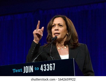 San Francisco, CA - August 23, 2019: Presidential candidate Kamala Harris speaking at the Democratic National Convention summer session in San Francisco, California.