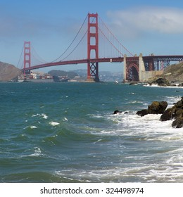 SAN FRANCISCO, CA, AUGUST 24: Panorama of the Golden Gate Bridge, the opening of the San Francisco Bay into the Pacific Ocean. USA 2012.