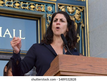 San Francisco, CA - August 26, 2019: Board of Supervisors Hillary Ronin speaking at the 2nd annual Women's Equality Day Rally held on the steps of City Hall. The 99th anniversary of the 19th Amendment