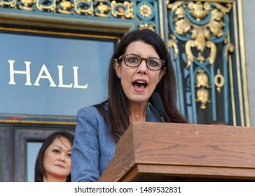 San Francisco, CA - August 26, 2019: Board of Supervisors Catherine Stefani speaking at the 2nd annual Women's Equality Day Rally held on the steps of City Hall. The 99th anniversary of the 19th Amend