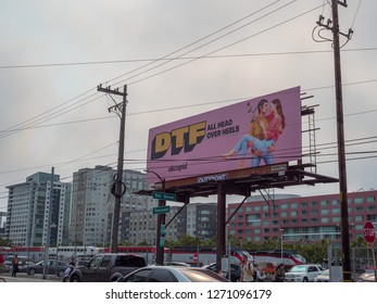 San Francisco, CA AUGUST 7, 2018: DTF Down to fall head over heels OkCupid online dating billboard advertisement