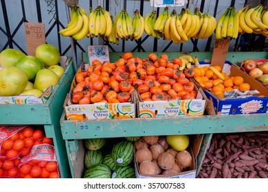SAN FRANCISCO, CA - DECEMBER 9, 2015: Farmer's market in an open-air shop in China Town San Francisco.
