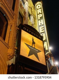 """SAN FRANCISCO, CA - February 19, 2019. Broadway musical """"Hamilton"""" is now playing at the SHN Orpheum Theater in San Francisco."""