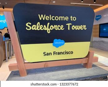 SAN FRANCISCO, CA - February 19, 2019. Salesforce.com, Inc. is an American cloud-based software company headquartered in San Francisco, California.