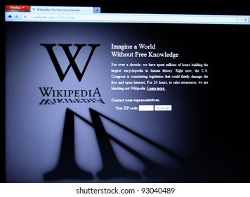 """SAN FRANCISCO, CA - JAN 18: Wikipedia, the largest collaborative online free encyclopedia began a 24-hour """"blackout"""" in protest against SOPA on January 18, 2012 in San Francisco, Ca."""