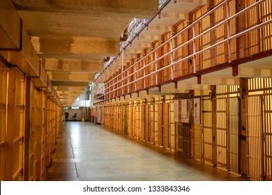 San Francisco, CA - January 14, 2019: Photo of Cell Block in historial Alcatraz Penitentiary on Alcatraz Island also called The Rock.Photo of Cell Block in historial Alcatraz Penitentiary on Alcatra