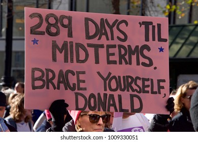 San Francisco, CA - January 20, 2018: Unidentified participants in the Women's March.  Designed to engage and empower all people to support women's rights, and to encourage voting in 2018 election.