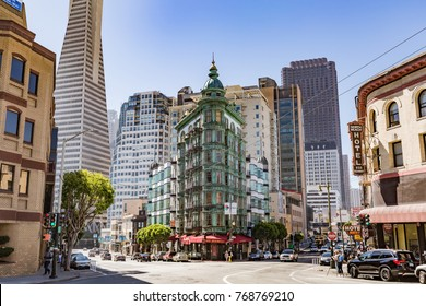 San Francisco, CA - July 16, 2017: Columbus Tower. The copper-green Flatiron style structure is a mixed-used building that was completed in 1907, just after the 1906 San Francisco earthquake.