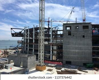 San Francisco, CA / July 2018 : New Chase Warriors Basketball Arena under construction next to San Francisco Bay