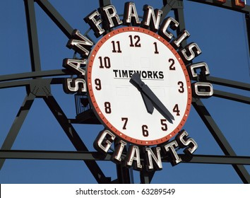 SAN FRANCISCO, CA - JULY 28: Giants Scoreboard Clock, designed by Steve Kowalski with TimeWorks logo in the center, displaying the time of about 5:23 July 28, 2010 ATT Park San Francisco California.