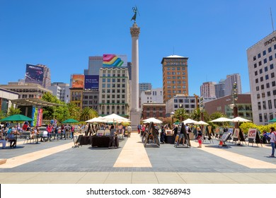 SAN FRANCISCO, CA - JULY 4: Union Square with tourists on July 4, 2014 in San Francisco, California. Union Square is a famous tourist destination and is surrounded by luxury shops.