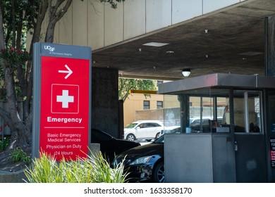 San Francisco, CA July 6, 2019: University of California San Francisco UCSF emergency room car entrance at hospital 24 hours