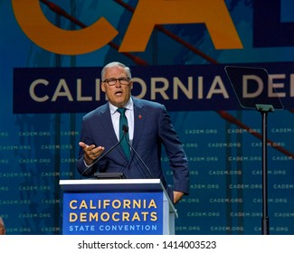 San Francisco, CA - June 01, 2019: Presidential candidate Jay Inslee, govenor of Washington, speaking at the Democratic National Convention at Moscone center in San Francisco, California