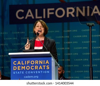 San Francisco, CA - June 01, 2019: Presidential candidate Amy Klobuchar, U.S. Senator, speaking at the Democratic National Convention at Moscone center in San Francisco, California