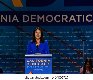 San Francisco, CA - June 01, 2019: Presidential candidate Tulsi Gabbard, U.S. Senator, speaking at the Democratic National Convention at Moscone center in San Francisco, California