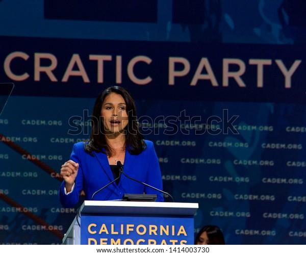 San Francisco, CA - June 01, 2019: Presidential candidate Tulsi Gabbard, U.S. Senator, speaking at the Democratic National Convention at Moscone center in San Francisco, California