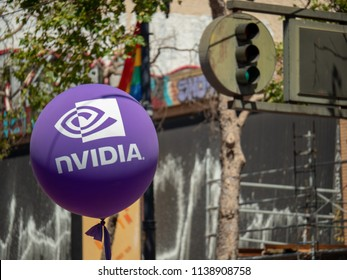 SAN FRANCISCO, CA JUNE 23, 2018: Purple nVidia logo on balloon in a city environment