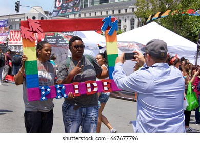 San Francisco, CA - June 24, 2017: Unidentified participants celebrate at the San Francisco Gay Pride Festival at Civic Center, downtown San Francisco. This years theme, a celebration of diversity.