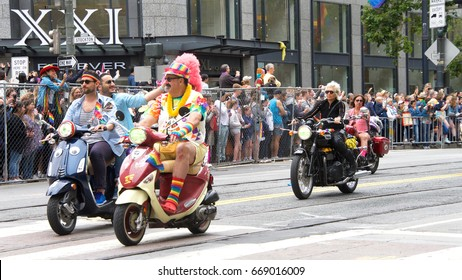 San Francisco, CA - June 24, 2017: Unidentified participants celebrate at the San Francisco Gay Pride Parade on Market Street, downtown San Francisco. This years theme, a celebration of diversity.