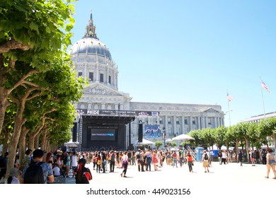 San Francisco, CA - June 25, 2016: Unidentified participants celebrates at the annual San Francisco Gay Festival, held at Civic Center in downtown San Francisco.