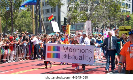 """San Francisco, CA - June 26, 2016: Unidentified participants at the 46th annual San Francisco Gay Pride Parade. This year's theme """"For racial and economic justice""""."""