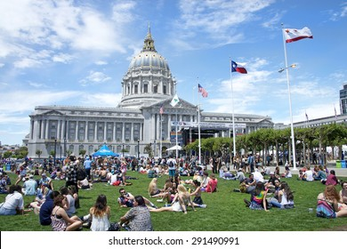 SAN FRANCISCO, CA - JUNE 27, 2015: Unidentified participants celebrates at the annual San Francisco Gay Festival, held at Civic Center in downtown San Francisco.