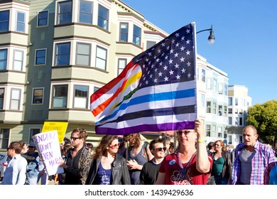 San Francisco, CA - June 28, 2019: Unidentified participants in the 16th annual Trans March, a celebration of trans and gender non-conforming people.