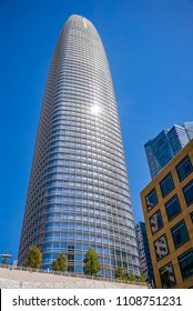 SAN FRANCISCO, CA - JUNE 3, 2018: A skyward view of Salesforce Tower in San Francisco