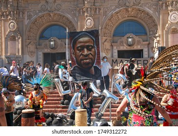 San Francisco, CA - June 3, 2020: Protestors at the George Floyd Black Lives Matter protest, performing dances and giving speeches prior to marching to the Police Station and City Hall.