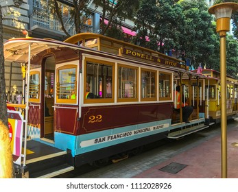 San Francisco, CA / June 7, 2018: Cable car on Powell street. The cable car (manually operated cable car system) is a famous tourist attraction.