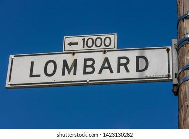 San Francisco, CA. Lombard Street Sign in Russian Hill