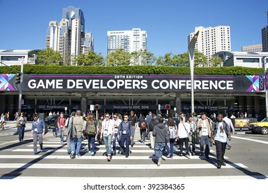 San Francisco, CA - March 17, 2016: Game Developers Convention 2016 entrance. GDC is the most important conference about videogames development in the world at the Moscone Centre