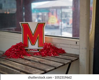 SAN FRANCISCO, CA - MARCH 19, 2018: University of Maryland, College Park (Terrapins) card display and decorations displayed on a table.