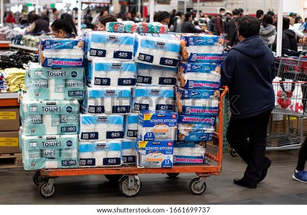 SAN FRANCISCO, CA - March 2, 2020: Costco shoppers prepare as Corona virus spreads