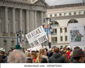 """SAN FRANCISCO, CA - MARCH 24, 2018: """"Assault on our future"""" Auditorium at March of Our Lives rally in San Francisco"""