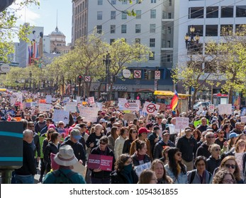 SAN FRANCISCO, CA - MARCH 24, 2018: Anti-gun and anti-NRA march at March for Our Lives rally in San Francisco. One of dozens nationwide that was sparked by the Stoneman Douglas school shootings.
