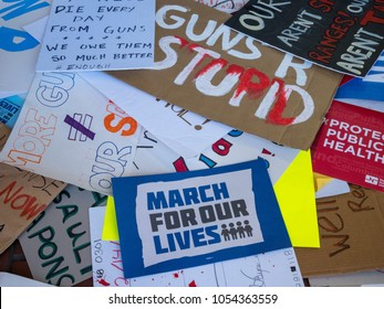 SAN FRANCISCO, CA - MARCH 24, 2018: Various discarded signs for the March for Our Lives rally. The rally was one of dozens nationwide that was sparked by the Stoneman Douglas school shootings.