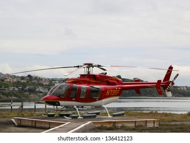 SAN FRANCISCO, CA - MARCH 28: Bell 407 helicopter ready to fly with tourists over San Francisco Bay on March 28, 2013. The Bell 407 is a four-blade, single-engine, civil utility helicopter