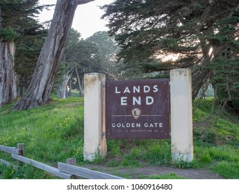 SAN FRANCISCO, CA - MARCH 30, 2018: Land's End park entrance in San Francisco in evening sunset