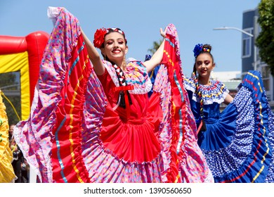 San Francisco, CA - May 04, 2019: Unidentified participants in the Mission Neighborhood Centers 14th annual Cinco de Mayo celebration, showcasing the very best of Mexican and Latin American cultures.