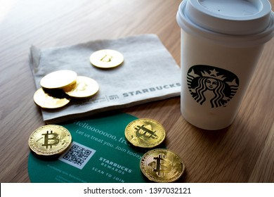 SAN FRANCISCO, CA - May 13, 2019: Starbucks, Nordstrom And Whole Foods Now Accept Bitcoin